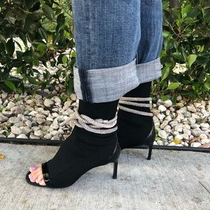 ZARA Black Open Toe Jeweled Cord Sock Bootie Sz 37